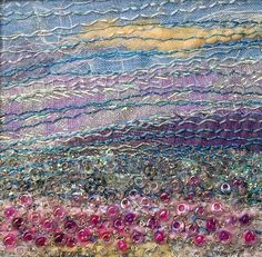Pink flower meadow  fabric landscape  beaded & by StitchMikki