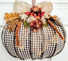 Dollar Tree Pumpkins, Dollar Tree Fall, Dollar Tree Decor, Dollar Tree Crafts, Wood Pumpkins, Wreath Crafts, Diy Wreath, Wreath Making, Easy Fall Wreaths