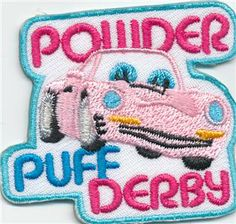 girl scout pinewood derby | Girl POWDER PUFF DERBY pinewood PINK Patches Crests Badges SCOUTS ...
