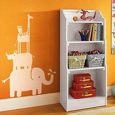 GECKOO Nursery Decor - Zoo Decal Animal Safari Stack Vinyl Elephant and Rhinl Baby Nursery Stciker Bedroom Wall Graphics(Large,White) GECKOO