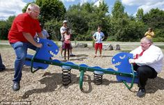 Week of Jul 26 - Aug 2014 Toronto Mayor Rob Ford, right, and his brother, councillor Doug Ford, battle on a teeter-totter at Sunday's opening of a T-Rex-themed playground. Rob Ford, Slums, Lol So True, T Rex, Image Sharing, Snorkeling, Fun Workouts, Playground, Comedy