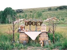 Glamping inspired dessert bar || Floral, Decor and Styling by Harvest Moon Events | Photo by Carla Boecklin Photography | Model: Dani Braun | Gown: Chantel Lauren | Hair/Makeup: Whitney Transtrum | Vintage Rentals: Pink Hippo | Desserts: Auntie Em's Park City | Venue: Conestoga Ranch