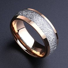 88c915e0b80 King Will 8mm Domed 14k Gold Tungsten Carbide Ring Meteorite Inlay Wedding  Band Comfort Fit Size5