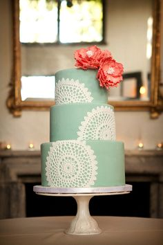 Sage green and coral wedding cake with lace.just bc its a pretty wedding cake! Coral Wedding Cakes, Floral Wedding, Wedding Colors, Doily Wedding, Coral Cake, Mint Weddings, Rustic Weddings, Pretty Cakes, Beautiful Cakes