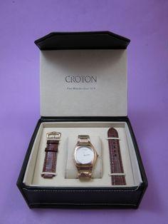 FOR SALE: Croton Czar Gold Tone Spherulite Crystal Water Resistant Men's Wrist Watch NOS #Croton