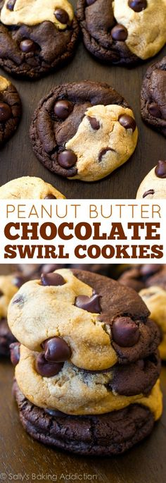 How to make soft-baked peanut butter and chocolate cookies that are swirled together in one! Recipe on sallysbakingaddiction.com