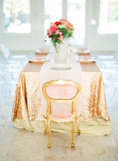 Sparkly gold tablescape. a more subdued version would be cool for your table.