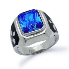 Mens Stainless Steel Ring with Blue Sapphire CZ Sizes 8 to 15 Kriskate & Co.. $19.99