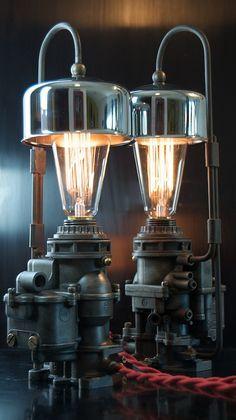 Machine Age / Dieselpunk Ford Carburetor Lamp with Air Cleaner Shade,
