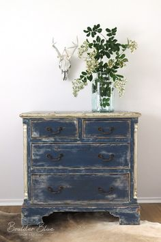 Antique Indigo Chest