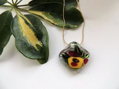 fused glass necklacependant necklacered by Homeforglasslovers, $20.00