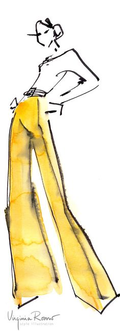 Very quick fashion sketch. Yellow trousers. Virginia Romo.