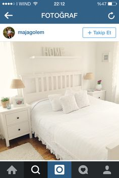 HEMNES BEDROOM. Love the curtain and the duvet cover with lace.