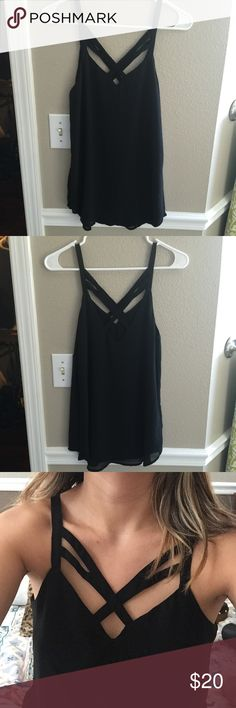 Strappy Black Chiffon Tank No flaws or snags! Double layered so it is not see through. Great quality. No tags but it's from Urban Outfitters Urban Outfitters Tops Tank Tops