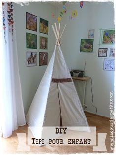 Un tuto pour fabriquer un tipi pour enfant pour des heures de jeux ! Un peu de couture plutôt facile et qui fait son petit effet !