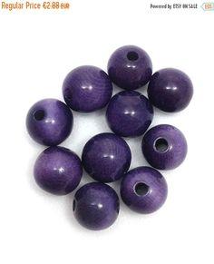 Tagua Perlen, lila, 5mm, 10 Stück, Perlen rund
