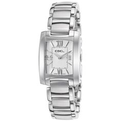 Ebel Women's Mini Brasilia Stainless Steel White Dial ($950) ❤ liked on Polyvore featuring jewelry, watches, rectangle watches, crown bracelet, stainless steel jewelry, ebel watches and roman numeral watches