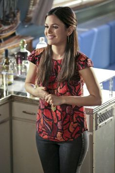 Rachel Bilson's red and orange leaf printed top on Hart of Dixie