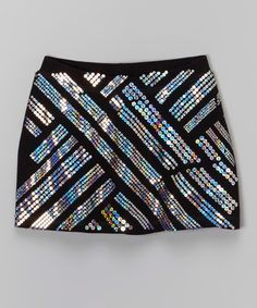 This Black Geometric Sequin Skirt - Girls is perfect! #zulilyfinds