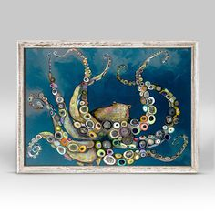 Octopus in the Deep Blue Sea, Animals Mini Framed Canvas | Greenbox