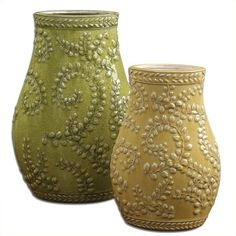 Uttermost Trailing Leaves Ceramic Vases  iin Pale Yellow (Set of 2) ($196) ❤ liked on Polyvore featuring home, home decor, vases, uttermost home decor, ceramic finials, ceramic home decor, ceramic urn and crackle vase