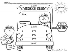 Color Word Activities FREE Recognition Bus Coloring Sheets