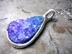 Purple Druzy Necklace Wire Wrapped Necklace Wire by CaravanOfBeads