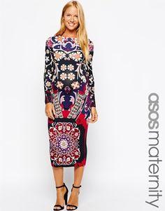 Enlarge ASOS Maternity Body-Conscious Dress In Folk Floral Print