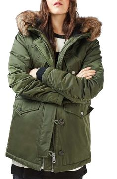 Women's Topshop Jess Parka With Faux Fur Trim ($150) ❤ liked on ...