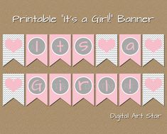 Digital Art Star :: Cute Digital Scrapbook Paper and Party Printables: DIY Printable It's a Girl Baby Shower Banner
