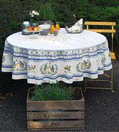 disponible Nappe Provence 180 cm Rond Jaune Lavande de France
