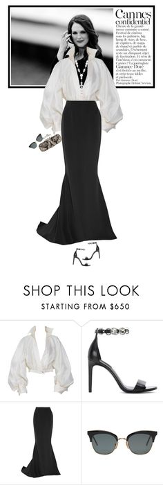 """""""2017 Cannes Film Festival"""" by mariots22 ❤ liked on Polyvore featuring JULIANNE, Claude Montana, Alexander Wang, Reem Acra, Thom Browne, Chanel, Alexander McQueen and vintage"""