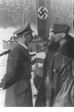 The blond beast, Reinhard Heydrich (on right) in command of the Nazi SD & SS at a winter resort for SS men. Luftwaffe, Cross Of Iron, Germany Ww2, The Third Reich, Second World, War Machine, Military History, World War Two, World History