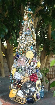Christmas Tree Jeweled with Vintage Baubles by baublesandbrides