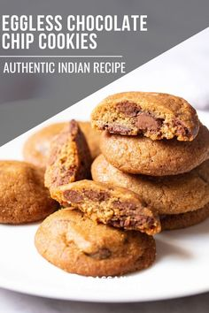 These easy eggless chocolate chip cookies are delicious and perfect for dessert! Eggless Chocolate Chip Cookie Recipe, Eggless Cookie Recipes, Healthy Chocolate Mousse, Eggless Desserts, Healthy Chocolate Chip Cookies, Veg Recipes, Indian Food Recipes, Egg Free Desserts, Easy