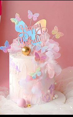 Butterfly Birthday Cakes, Baby Birthday Cakes, Beautiful Birthday Cakes, Butterfly Cakes, 1st Birthday Party For Girls, Girl Birthday Themes, Birthday Party Decorations, Birthday Parties, Bolo Laura
