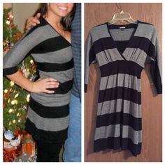 Xs Express Gray And Black Striped Dress