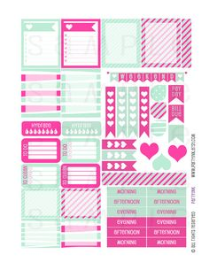 Planner Stickers  Mint and Hot Pink Sampler 1  Planner by partyINK