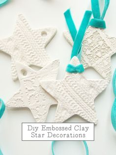 Embossed Clay Star Ornaments