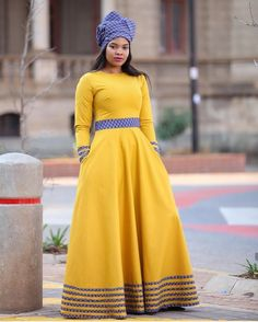 Unleash your confidence in this Tebogo maxi dress - Shweshwe Edition Colou African Dresses For Kids, African Maxi Dresses, African Fashion Ankara, Latest African Fashion Dresses, African Print Fashion, African Attire, South African Traditional Dresses, African Print Dress Designs, Shweshwe Dresses