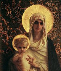 Catholic Paintings - Virgin and Child by Antoine Auguste Ernest Herbert