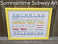 The Thriftiness Miss: Summertime Subway Art and free printable