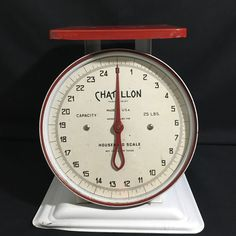 Vintage Chatillon Mid-Century Metal Kitchen Scale Red White 25 lb #Chatillon