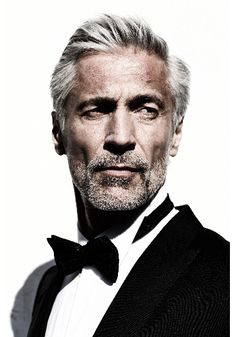 Handsome Gray Haired Man in a Tuxedo. Menstyles facial hair Forever young..aging with styles gracefully
