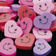Mini Smile Heart Erasers - 72 per unit by SmallToys. $1.99. Smile face on both sides. Heart shaped erasers are 5/8 inch size. Heart shaped erasers are 5/8 inch size and have smile face on both sides.