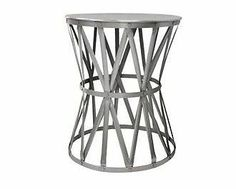 Round Nickel Drum Side Table Industrial Metal Iron END Table Silver Coffee | eBay