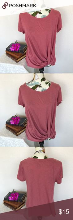 Just in Maurices-Mauve Knot Front T-Shirt Brand: Maurices Color(s): mauve pink Size: Large and extra large Stretch: yes Fabric Content: 60% cotton 40% modal Condition: EUC! Both Note: no flaws-both. Knotted front. Great layering tops!   Measurements: Large (L) Extra Large (XL) Pit to pit: (L) ~21 inches/ (XL) ~23 inches Length: (L) ~30 inches/ (XL) ~31 inches Shoulders: (L) ~18 inches/ (XL) ~19 inches Sleeves: (L/XL) ~7 inches Bundle your likes, and I will send you a no obligation offer. Or…
