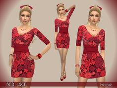 The Sims Resource: Red Lace dress by Paogae • Sims 4 Downloads