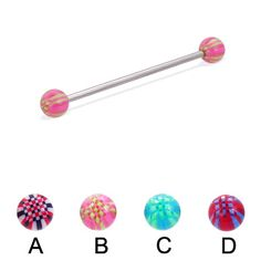 Long barbell (industrial barbell) with acrylic checkered balls, 14 ga.  #industrial #barbell #piercing #piercingjewelry #jewelry #bodypiercing #bodyjewelry ♥ $10.99 via OnlinePiercingShop.com