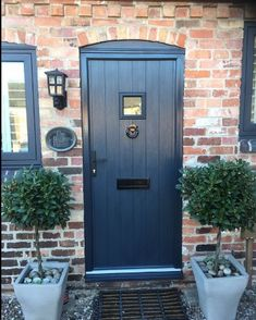 Composite door designer Nottingham – Windows Doors and Conservatories in Nottingham Cottage Front Doors, Cottage Door, House Front Door, House With Porch, Grey Composite Front Door, Grey Front Doors, Traditional Front Doors, Square Windows, Building A Porch